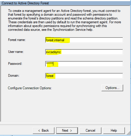 Connect to Active Directory Forest