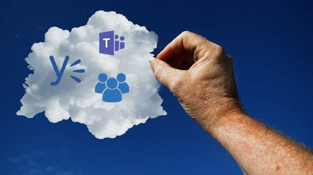 Cloud mit Icons von Teams, Yammer und Groups